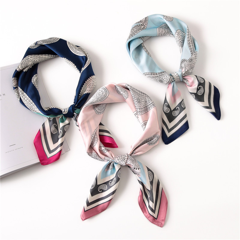 Fashion Women Silk   Scarf   2020 New Luxury Brand Leopard Hijab Silk Satin Shawl Scarfs Foulard Square Head   Scarves     Wraps   70*70cm