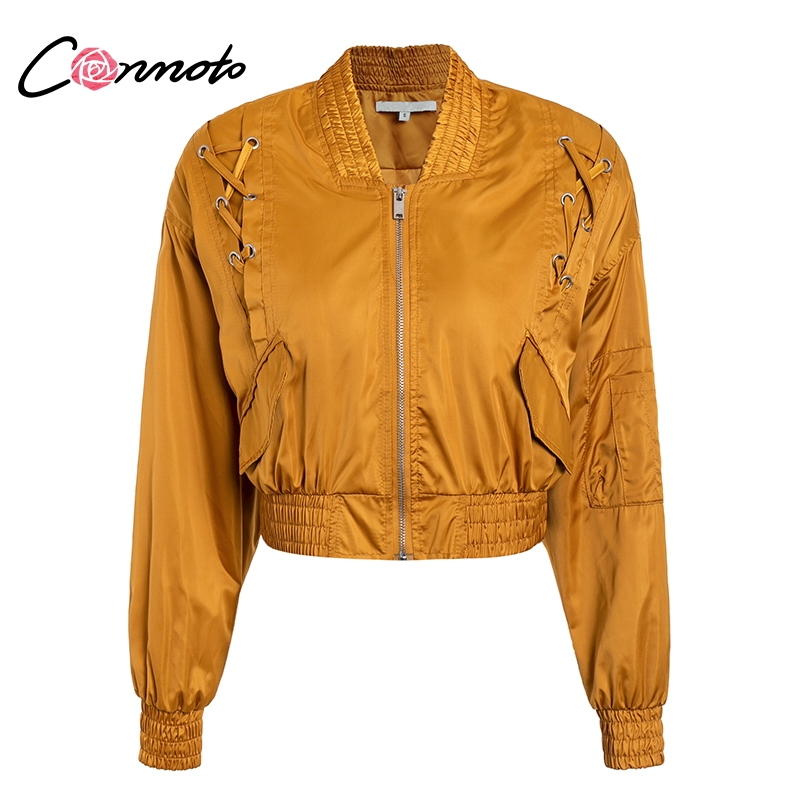 Conmoto Satin   Basic     Jacket   Women Long Sleeve Lace up Windbreaker Biker   Jacket   2018 Autumn Winter Bomber   Jacket   Chaqueta Mujer