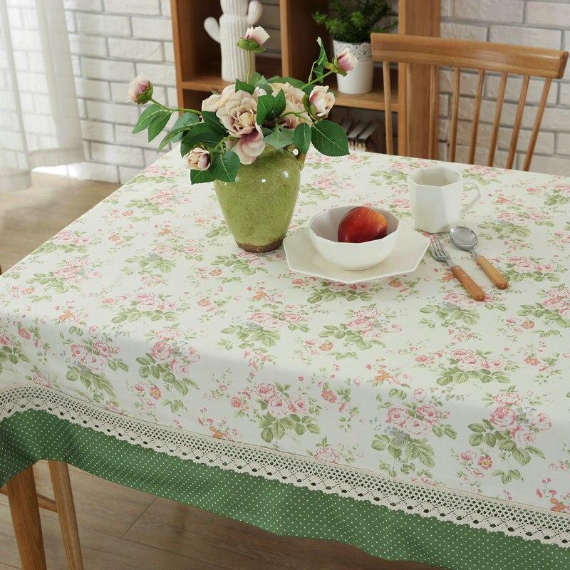 Хлопок Скатерти белый и зеленый Пастырское Пион цветок Кофе Скатерти украшения дома