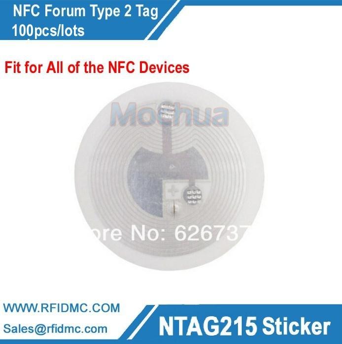 NTAG215 Tag For TagMo Ntag215 Lable, Ntag215 Sticker NFC Forum Type2 Tag,NFC Sticker 100pcs