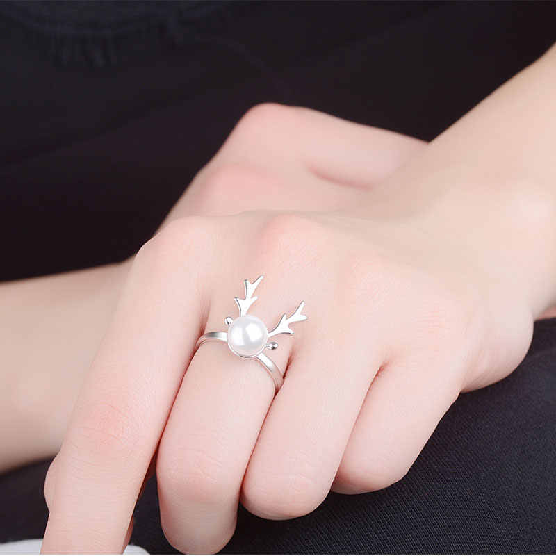 Anenjery Hot Fashion Christmas Elk Antler Simulated Pearl Necklace+Earrings+Ring 925 Sterling Silver Jewelry Sets For Women Girl