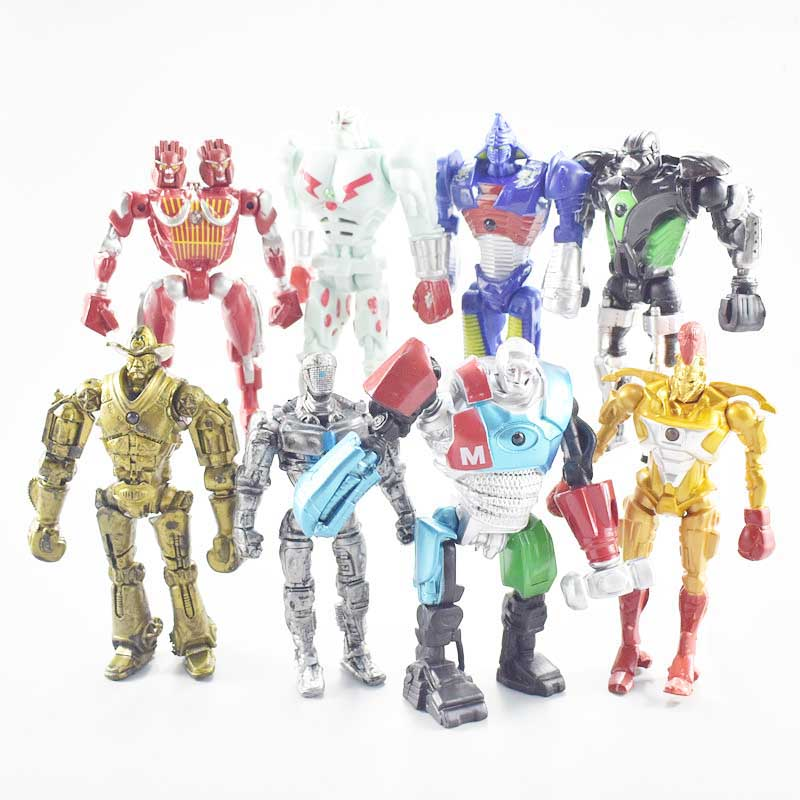 8pcs/set Real Steel Led Light Pvc Anime Figure Toy Cartoon Real Steel Robot Model Display Toys Children Birthday Jouet Gift les enfants pj racing mission cruiser car dessin maskmm toy anime pj car big truck display jouet children bithday gift toys