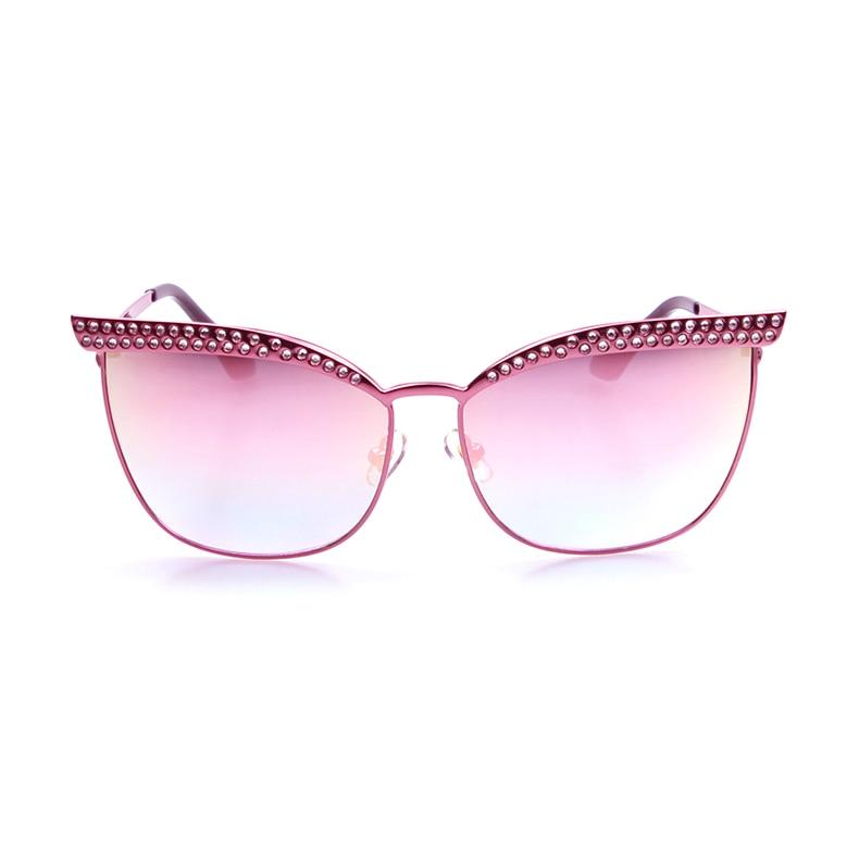 Luxury Men Flat Top Quality Sunglassses Women Cateye Coating Pink Vintage Eyewear Lady Retro Fashion Sun Glasses Oculos