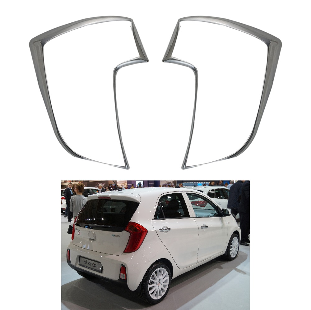 For Kia Picanto Morning 2011 2013 2014 2015 2016 ABS Chrome Accessories Plated Rear Light Lamp Cover Trim Tail Light Cover 2pcs