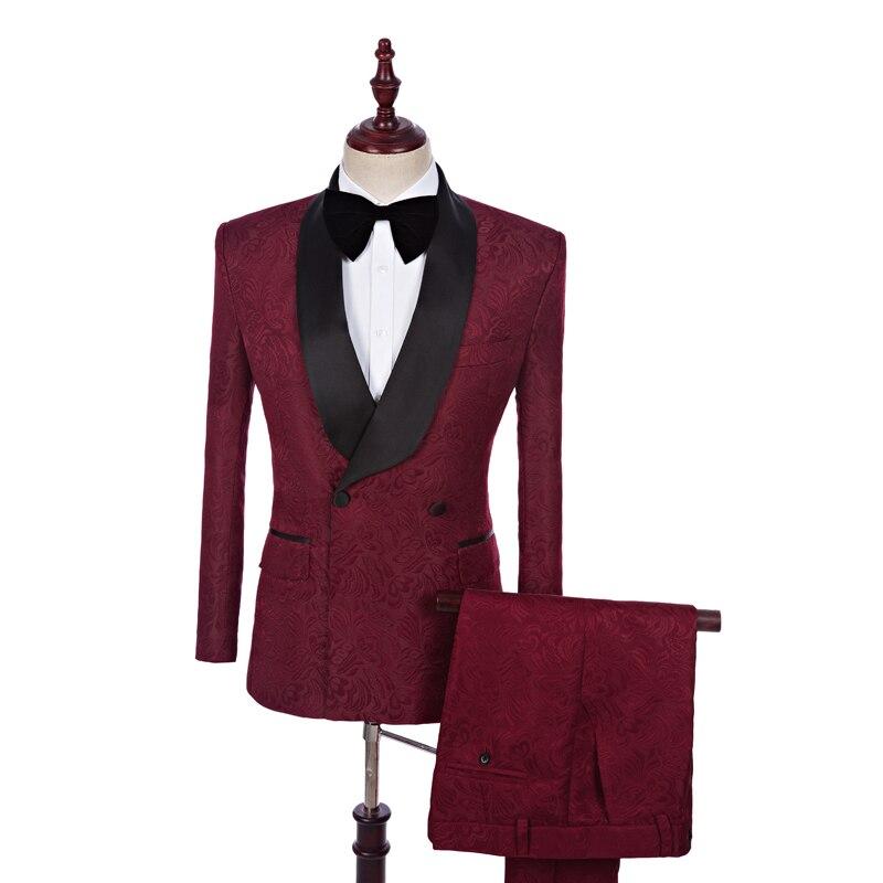 2 Pièce Custom Made Col Châle Hommes Costumes Vin Rouge Smoking Jacquard Costumes avec Pantalon Mince Marié Costume Hommes Formelle Robe De Mariée