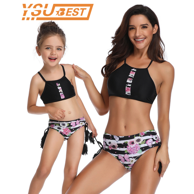 54a55f385c1 2019 Summer Swimsuit Mother Daughter flowers Sexy Bodysuit Bikini Swimsuit  New Family Look mom daughter Mommy and me swimsuit