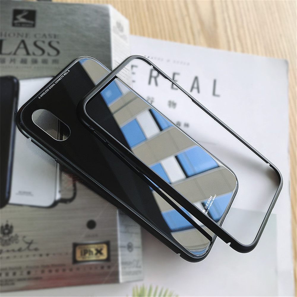 Wk Magnetic Adsorption Phone Case For Iphone X Bumper Luxury Design Powerbank Mirror 10000 Mah Aluminum Frame With Tempered Glass Cover 7 8 Plus Coque In Fitted Cases From
