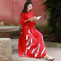 LZJN Vintage Chinese Dress 2017 Fashion Summer Long Dresses Crane Print Pleated High Waist Red Women