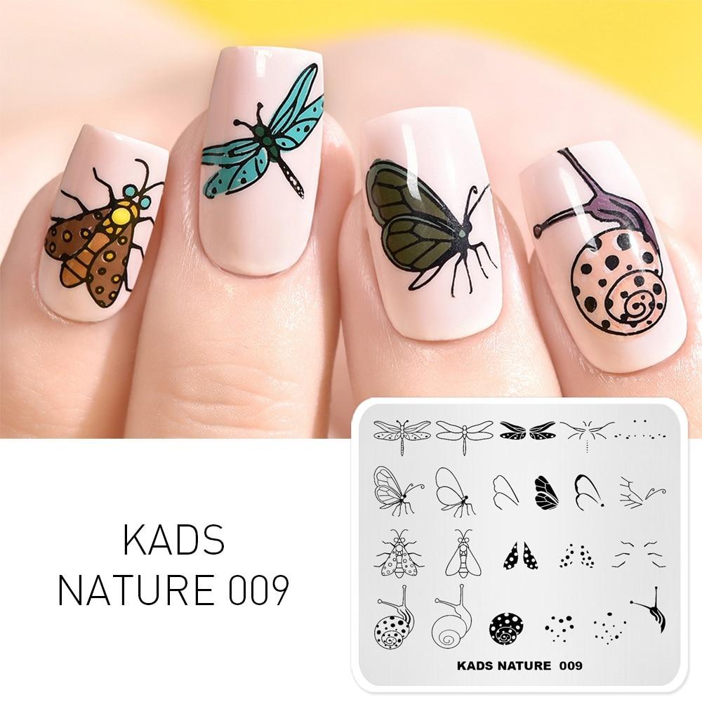 Kads Nature 009 Plytki Do Tloczenia Paznokci Butterfly Dragonfly