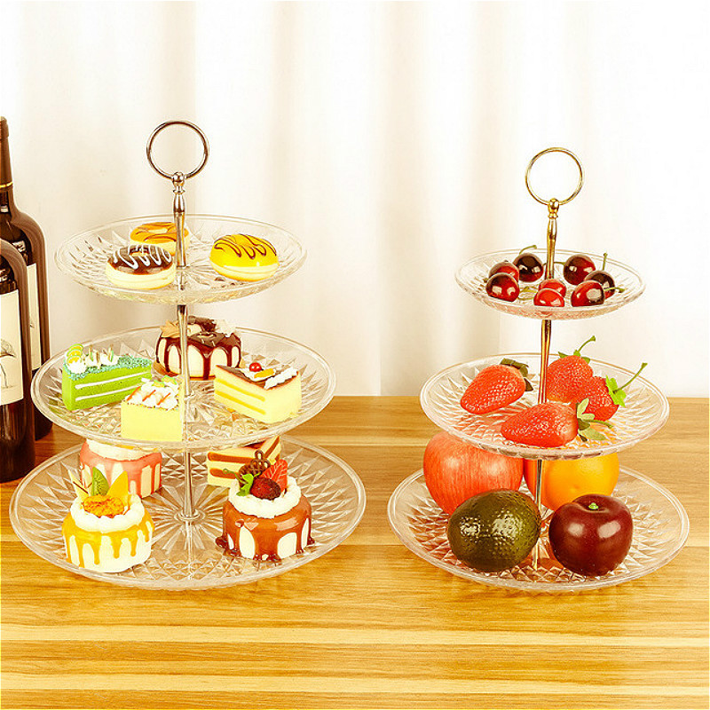 European Three-layer Plastic Plate Wedding Party Storage Trays Cake Stand Fruits Snack Food Plates Holder Rack Vanity Tray Decor