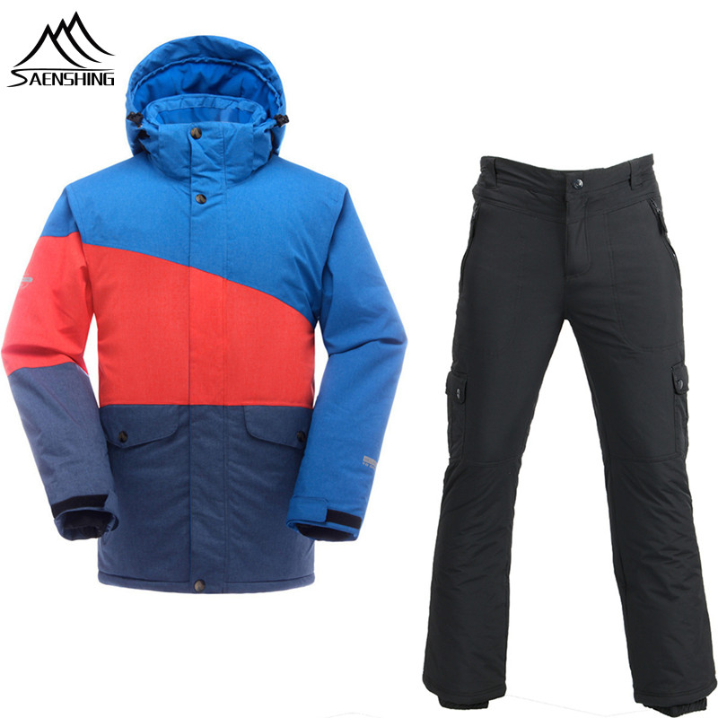 SAENSHING Skiing And Snowboarding Suits Men Cheap Ski Suit Waterproof Ski Jacket Snowboard Pants Thermal Breathable Outdoor Ski pelliot brand ski suit men snowboard jacket ski pants men waterproof breathable thermal cotton padded super warm skiing suits