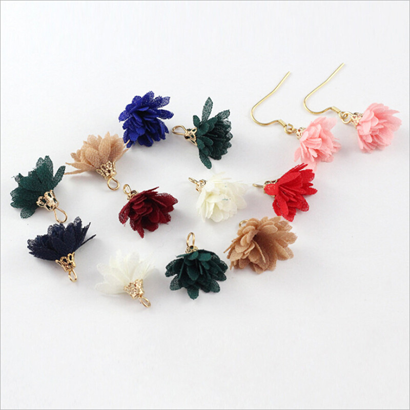 100pcs lot wholesale 15mm small silk flower fabric tassel with gold cap charms pendant for earrings DIY findings jewelry making in Jewelry Findings Components from Jewelry Accessories
