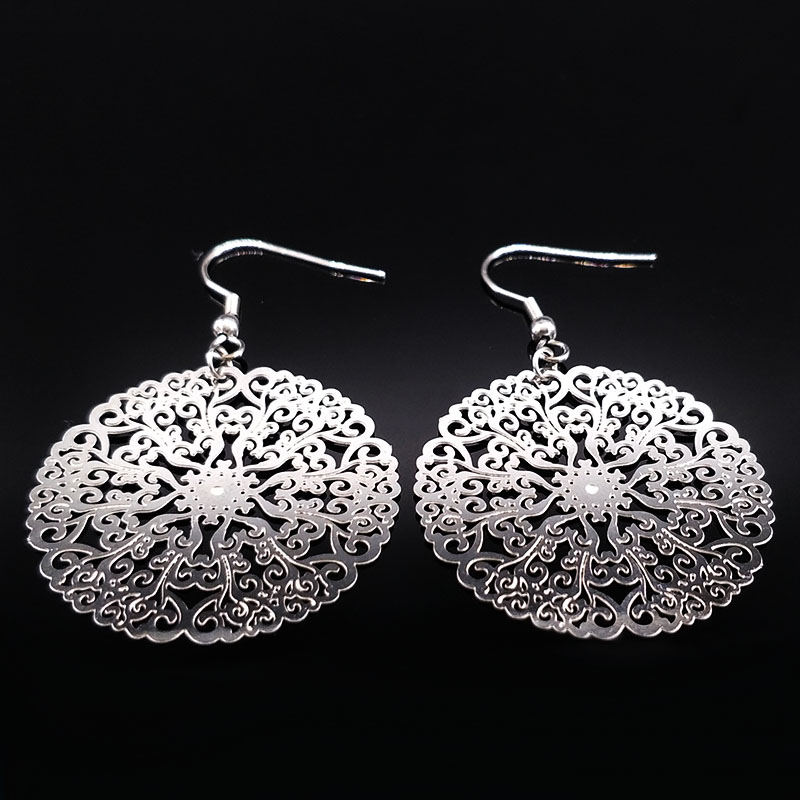 2018 New Design Flower Silver Color Stainless Steel Drop Earrings for Women Big Hollow Round Earrings