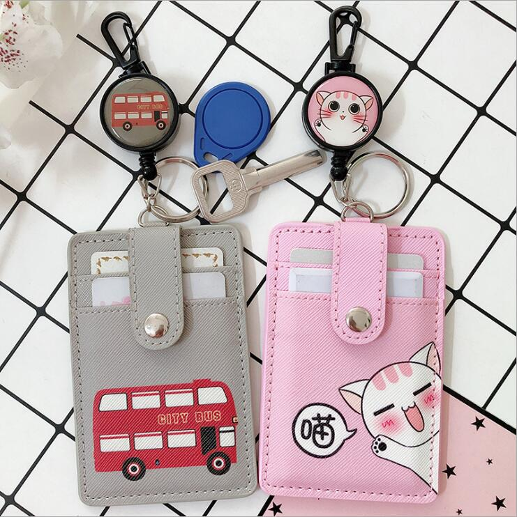 Cartoon Animals Fruit PU Leather Card Case Card Holder With Safety Anti-lost Retractable Key Chains For School Office Supplies