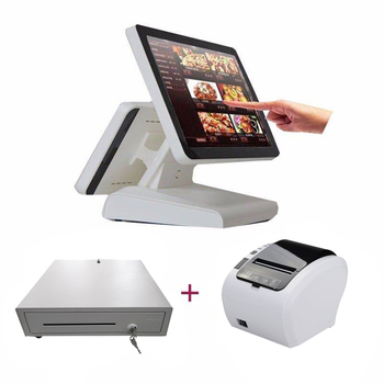 Free shipping dual-screen touch cash register 80mm thermal printer and 400mm POS cash drawer restaurant dedicated