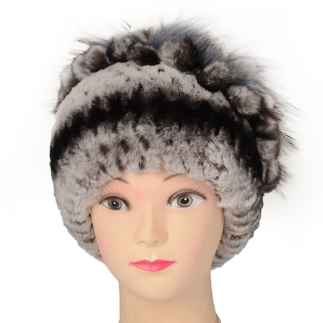 Women Genuine Knitted Rex Rabbit Fur Hats Russian Hat ushanka Natural Stripe Rex Rabbit Fur Caps lady winter Warm Head Wear Free