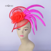 2019 Red Hot pink silk flower headband sinamay fascinator with feathers for wedding.