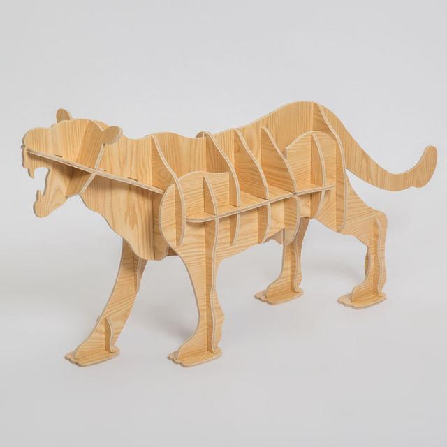 100% mesa de madeira animal do leopardo Europeia DIY Artes Ofícios Início Decorativa artesanato em madeira presente desk móveis enigma de auto-construção decoração