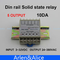 10DA Din Rail SSR Quintuplicate Five 5 Input 3 32VDC Output 24 380VAC Single Phase DC