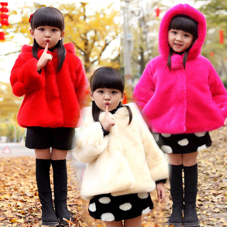 ФОТО Faux Fur 2016 Fashion Hot Sale children Warm Thickened Jackets Girls Clothing for winter coats Hooded Cotton-padded Outerwear 4T