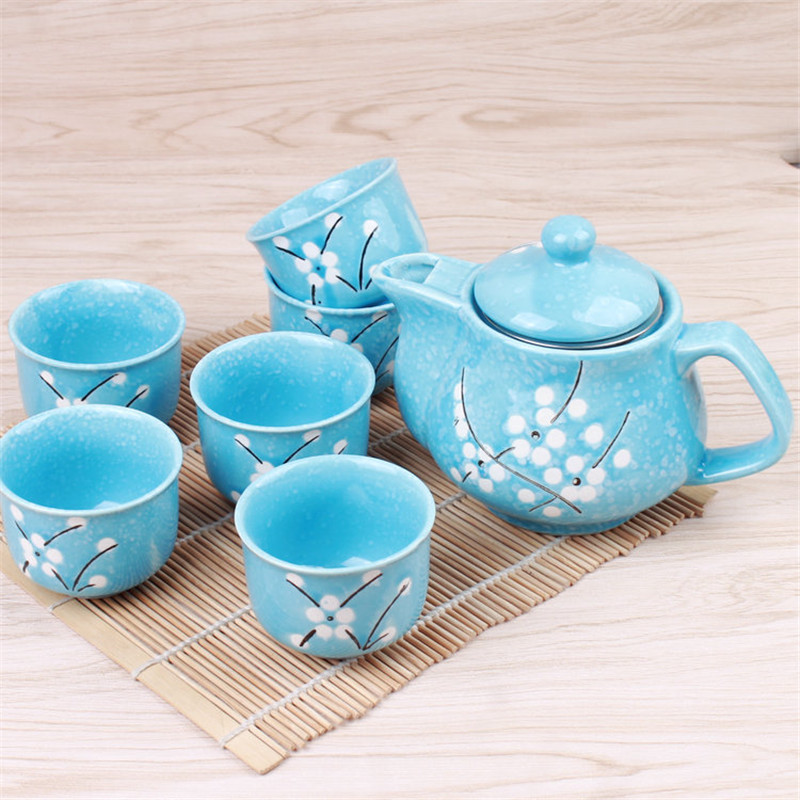 Anese Ceramic Teapots Set Retro Snowflake Cups Tea Pot With Strainer Office Sets Pink Cute Cup Drinkware 1 6 In From Home