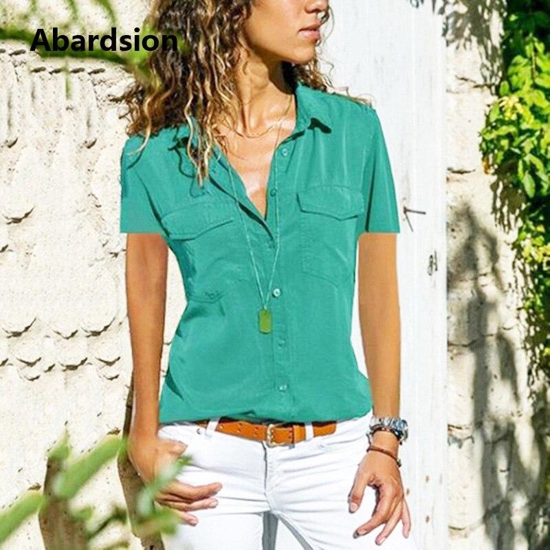Abardsion Casual T-Shirt Women Summer Button Down T Shirt 2019 Short Sleeve Pocket 4XL 5XL 6XL 7XL Plus Size Tshirt Femme