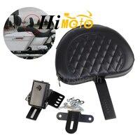 Black New Adjustable Plug in Driver Rider Seat Backrest Pocket Pad Kit For 1997 2016 Harley Touring Road King Road Electra Glide