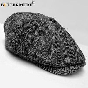 Image 4 - BUTTERMERE Mens Herringbone Flat Cap Wool Newsboy Hats Male Dark Grey Winter Classic Octagonal Cap Vintage British Painter Hat