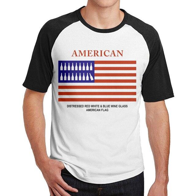d73cd836da29 Distressed Red White   Blue Wine Glass American Flag Summer Casual shirts  mens Plain Raglan Funny