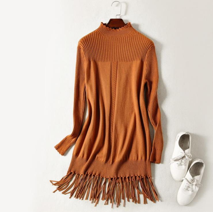 clearance sale European and American women's wear 2017 The new winter Long sleeve tassel Knitted dress