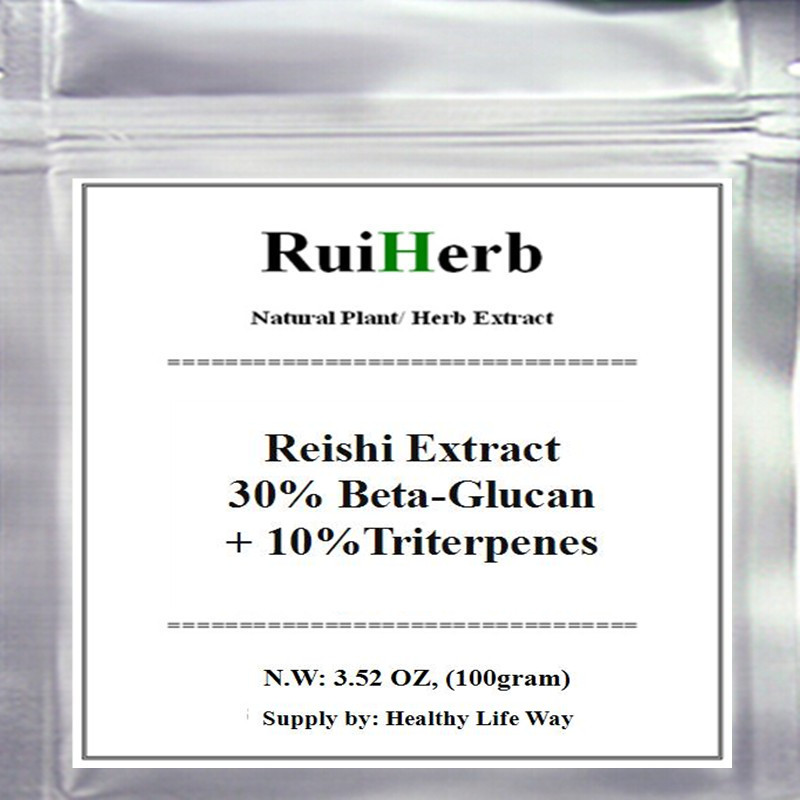 Ganoderma Lucidum Reishi Extract 30% Beta-Glucan+ 10%Triterpenes Powder free shipping