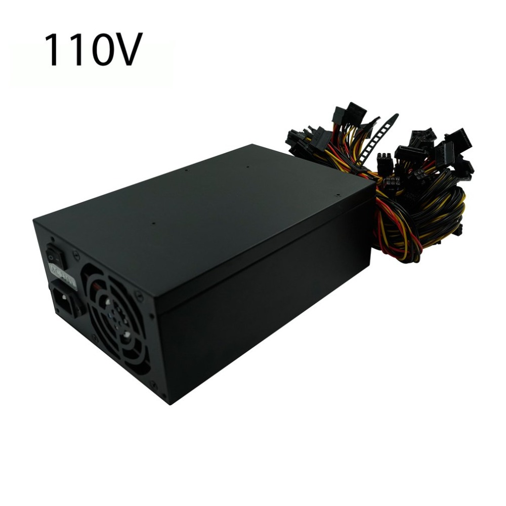 2400W Mining Power Supply Support 10 Pieces Graphics Card Miner Power For Multi-Way Ethereum Mining Machine Portable GPU Miner