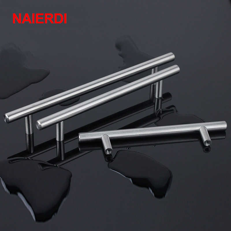 "NAIERDI 2"" ~ 24'' Stainless Steel Cabinet Handles Diameter 10mm Kitchen Door T Bar Straight Handle Pull Knobs Furniture Hardware"