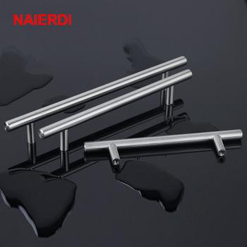 NAIERDI 2 #8222 ~ 24 #8221 stal stalowa szafka uchwyty średnica 10mm kuchnia drzwi T Bar prosto uchwyt gałka gałki sprzęt meblowy tanie i dobre opinie Metalworking Stainless steel CN (pochodzenie) NEDSSH-1 Meble uchwyt i pokrętła Single Hole~384mm Nowoczesne Brushed Stainless Steel