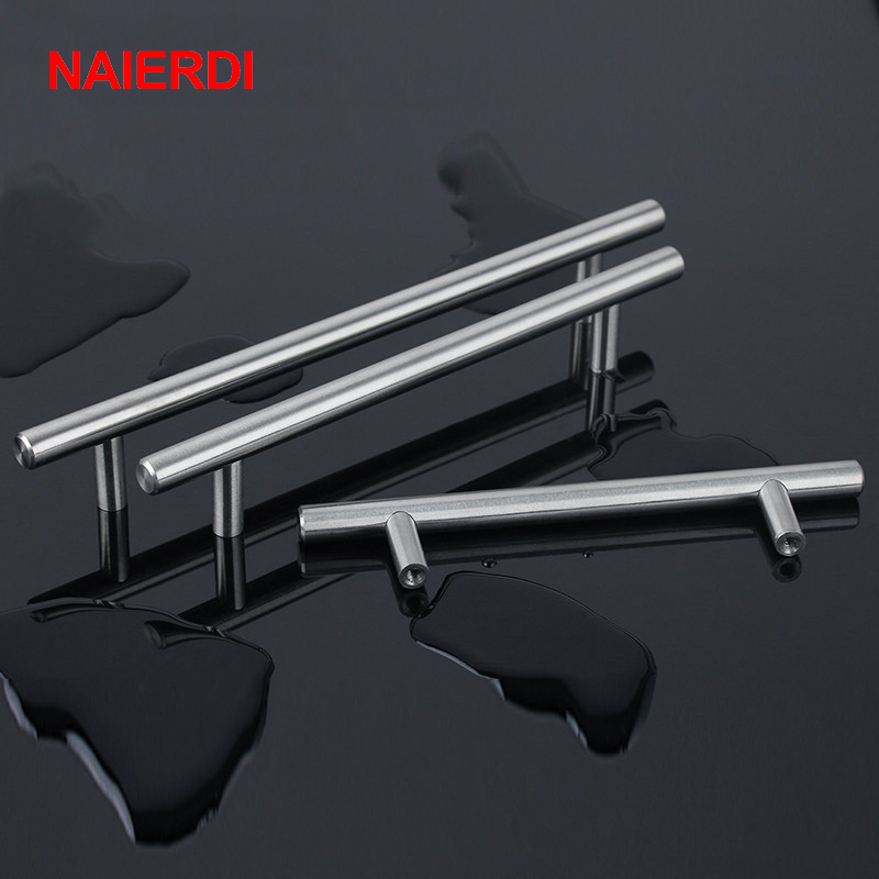 NAIERDI 2'' ~ 24'' Stainless Steel Cabinet Handles Diameter 10mm Kitchen Door T Bar Straight Handle Pull Knobs Furniture Hardware