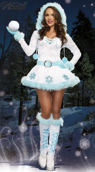 Lovely High Quality Sexy Dreamy Snow Maiden Hooded Santa Claus Costume Adults Women Christmas Princess Fancy Dress With Gloves Attractive Designs;