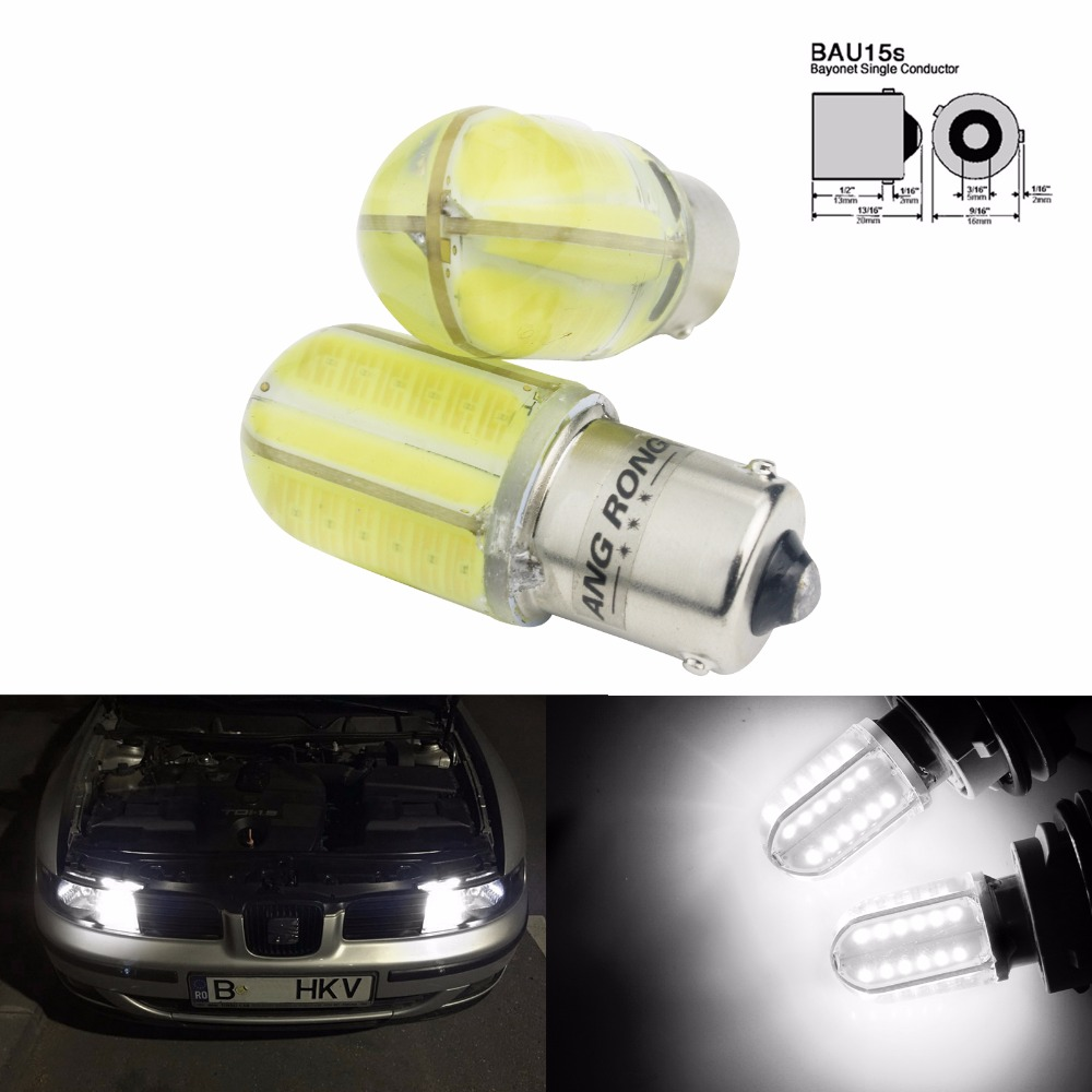 ANGRONG 2x PY21W BAU15s Bulb 8W COB White LED Front Rear Indicator Brake Stop Side Light(CA318)