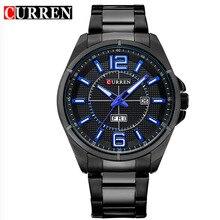 Curren hombres de la marca de relojes de lujo del cuarzo del deporte 30 m impermeable relojes hombres de acero inoxidable auto fecha relojes de pulsera relojes