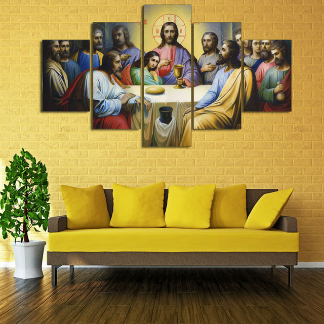 HD Print 5 pcs canvas wall art print Jesus The Last Supper painting ...