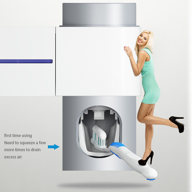 2 in 1 Ultraviolet Light Sterilizer and Toothbrush Holder Automatic Toothpaste Dispenser Bathroom Set