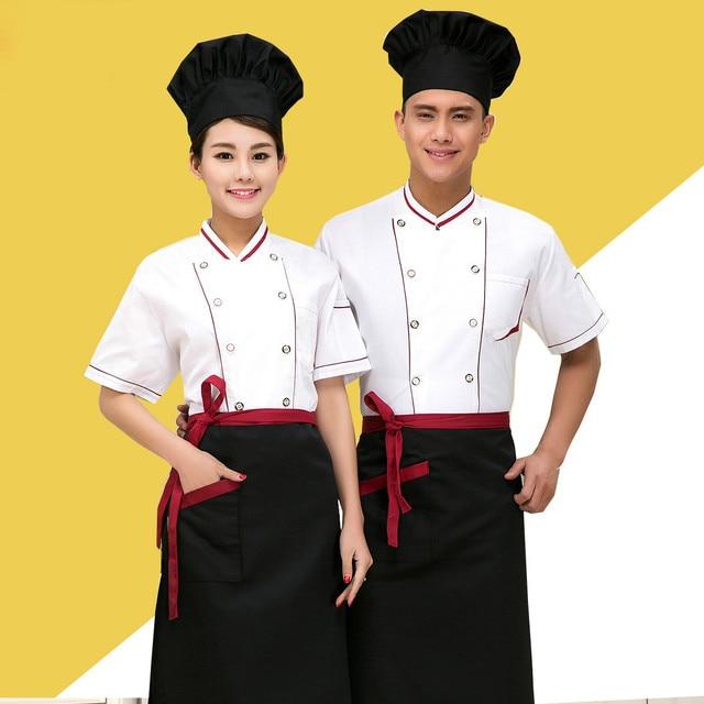 New Design White Chefs Uniforms Summer Short Sleeved Chef Service Hotel Working Wear Restaurant Work