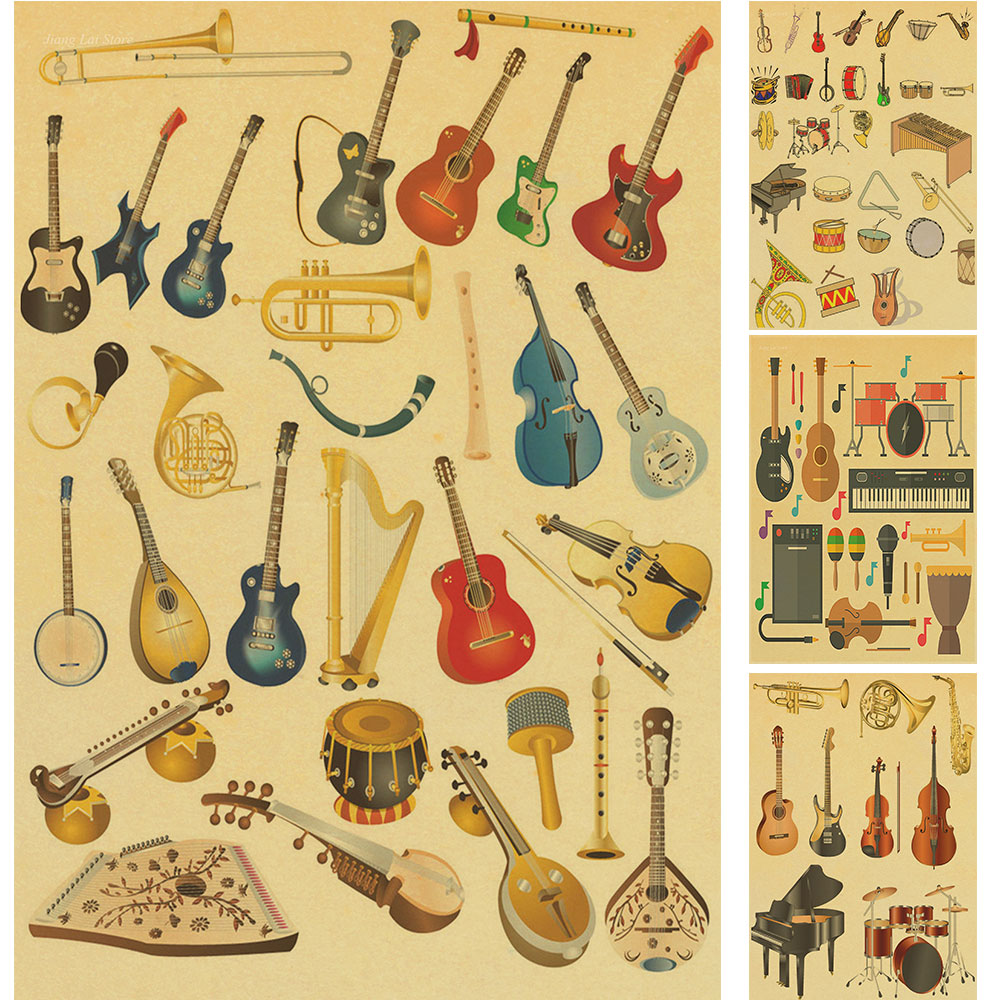The guitar master vintage poster retro kraft rock music for Retro house music