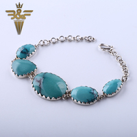 Support For Custom Birthday Gift Turquoise 925 Sterling Silver Jewelry Bracelet For Women With 5pcs Oval