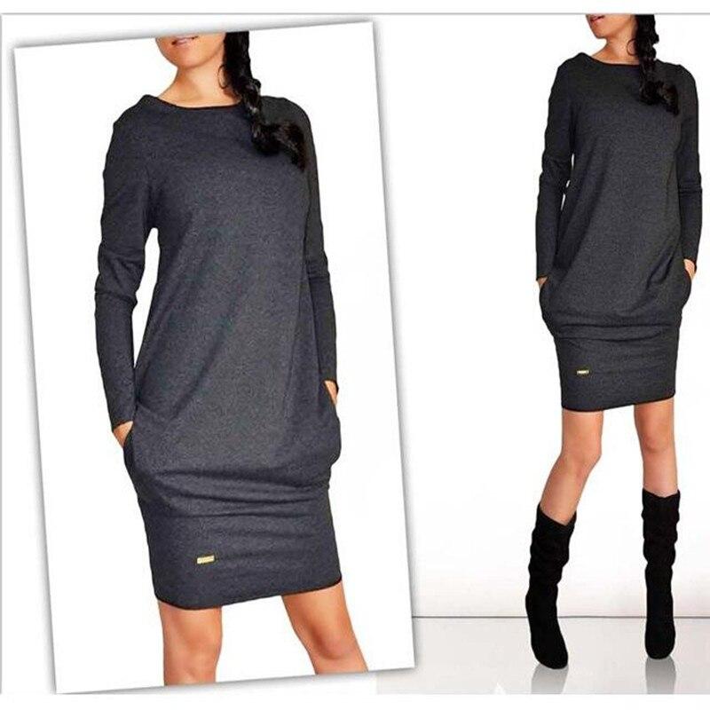 Платья.Осень-зима 2018 модные женские туфли с длинными рукавами и круглым вырезом Повседневное карман платье vestidos плюс Размеры мини оболочка работы деловая модельная одежда