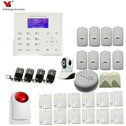 YobangSecurity Android IOS APP Wifi Gsm GPRS Home Security Alarm System Kit with Wifi IP Camera Wireless Siren For Home Security yobangsecurity touch keypad wifi gsm gprs rfid alarm home burglar security alarm system android ios app control wireless siren