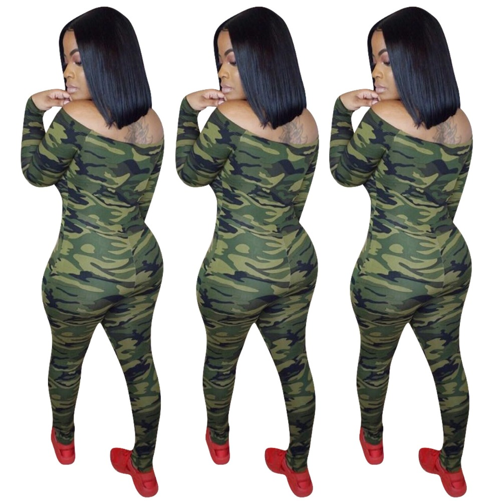Women New Long Sleeve Off Shoulder Camouflage High Waist Pencil Skinny Bodycon Jumpsuits Rompers Casual Green Orange Playsuit in Jumpsuits from Women 39 s Clothing