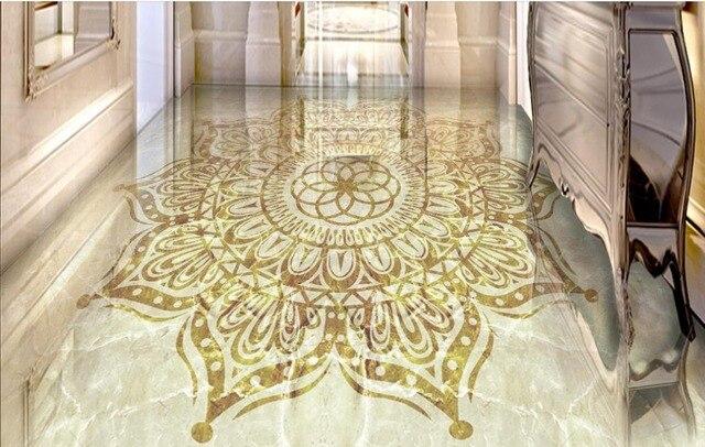 Custom 3d Floor Wallpaper For Bathroom Room Vinyl Wallpaper European  Pattern Marble 3d Floor Murals Soundproof