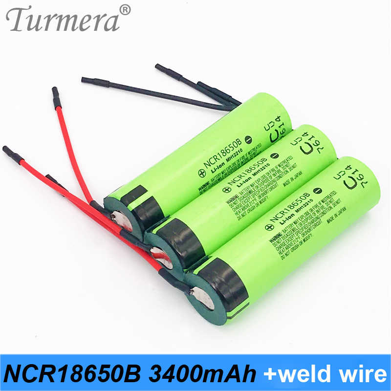 New original 18650 3400mah+ diy welding wire 18650 rechargeable battery 3.7v 18650 for shura screwdriver and power bank battery