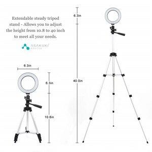 Image 2 - 9 אינץ טבעת אור חצובה Stand עבור Selfie תמונות YouTube קטעי וידאו איפור LED טבעת אור 10 בהירות רמות 3 תאורה מצבים