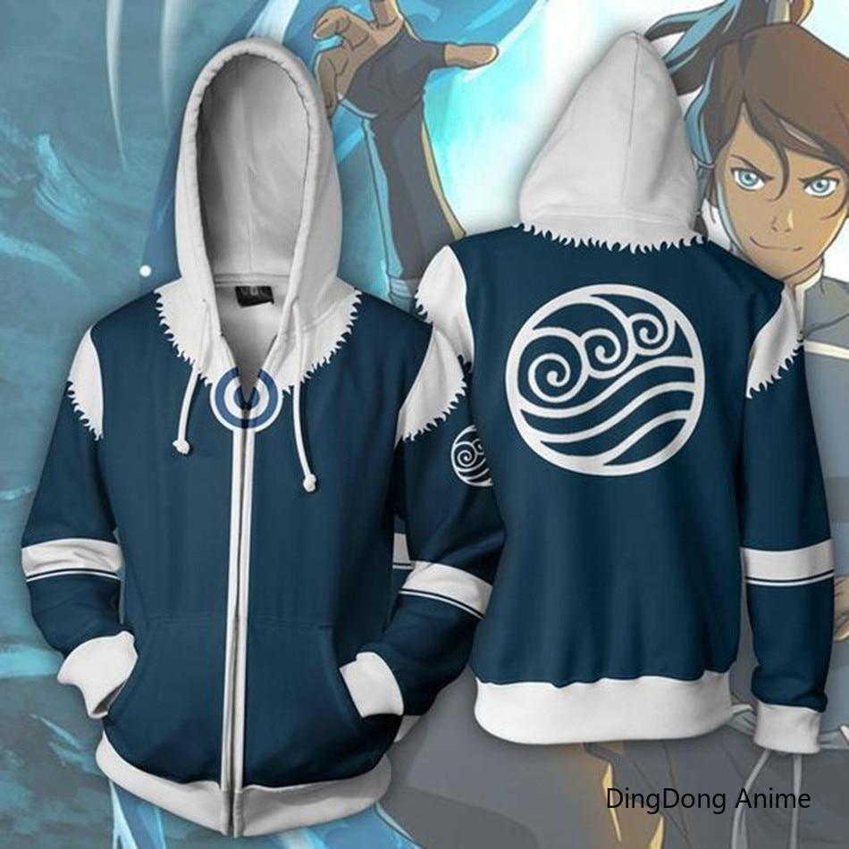 Avatar The Last Airbender Aang Korra 3D Print Sweatshirts Casual Hip Hop Hoodie Zip Jacket Cosplay Autumn Men's Clothing Coat